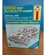 Haynes auto repair Manual 30016 Dodge Colt & Plymouth Champ 1978 thru 1987 - $11.87