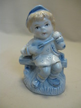 Ceramic Porcelain Figurine Blonde Girl Sitting on Fence Playing the Mand... - $9.99
