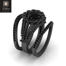 3 Piece Wedding Ring Set For Womens Onyx Black Engagement Rings Solid 18k Gold - $1,149.99
