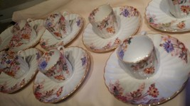 SPODE DEMITASSE Espresso Set 7 cups and 9 saucers Pink floral pearl-gold trim - $125.00