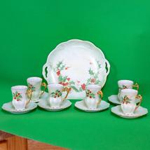Vintage 13-piece Green Unmarked Porcelain Serving Set, Platter + 6 Cup &... - $16.95
