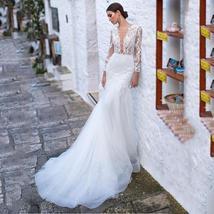 Sexy Deep Lace Long Sleeve Mermaid Wedding Lace Appliqued Backless Wedding Brida image 8
