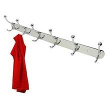6 Double Hook Coat Rack 12 Hooks Wall Mount w/Screws polished nickel silver - $31.53