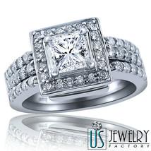 1.44 ct (0.57) F-VS2 Princess Cut Diamond Engagement Ring Wedding Bands ... - £1,717.74 GBP