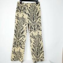 Talbots Womens Stretch Paisley Floral Black Tan Pants Size 6 EUC Zip Front - $19.78