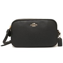 Crossbody Pouch In Pebble Leather (Coach F65988) Gold/Black - $138.59