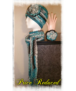 Blue & Black Mix Handmade Crochet Hat, Scarf & Bracelet Set - $35.00