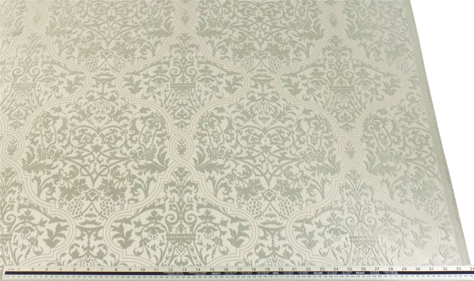 Slub Effect Silver Cream Embroidered Damask Fabric Material *2 Sizes*