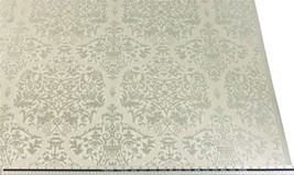 Slub Effect Silver Cream Embroidered Damask Fabric Material *2 Sizes* - $5.49+