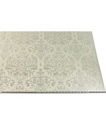 Slub Effect Silver Cream Embroidered Damask Fabric Material *2 Sizes* - $8.34+