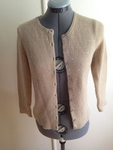 Ann Taylor Tan Light Brown Wool Blend Jeweled Front  Button Up Cardigan ... - $21.20