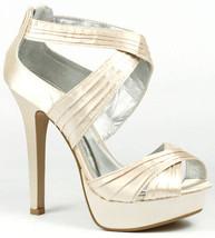 Nude Beige Satin Criss Cross High Heel Open Toe Platform Sandals Qupid Gaze-95 - $9.99