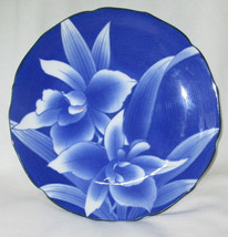 Blue Orchids Plate or Shallow Dish Unknown Makers Mark 8 1/2 Inches - $8.95