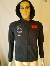 UFC MMA Reebok Black Hoodie Sweatshirt Fight For Yours NWT Womens Medium... - $58.79
