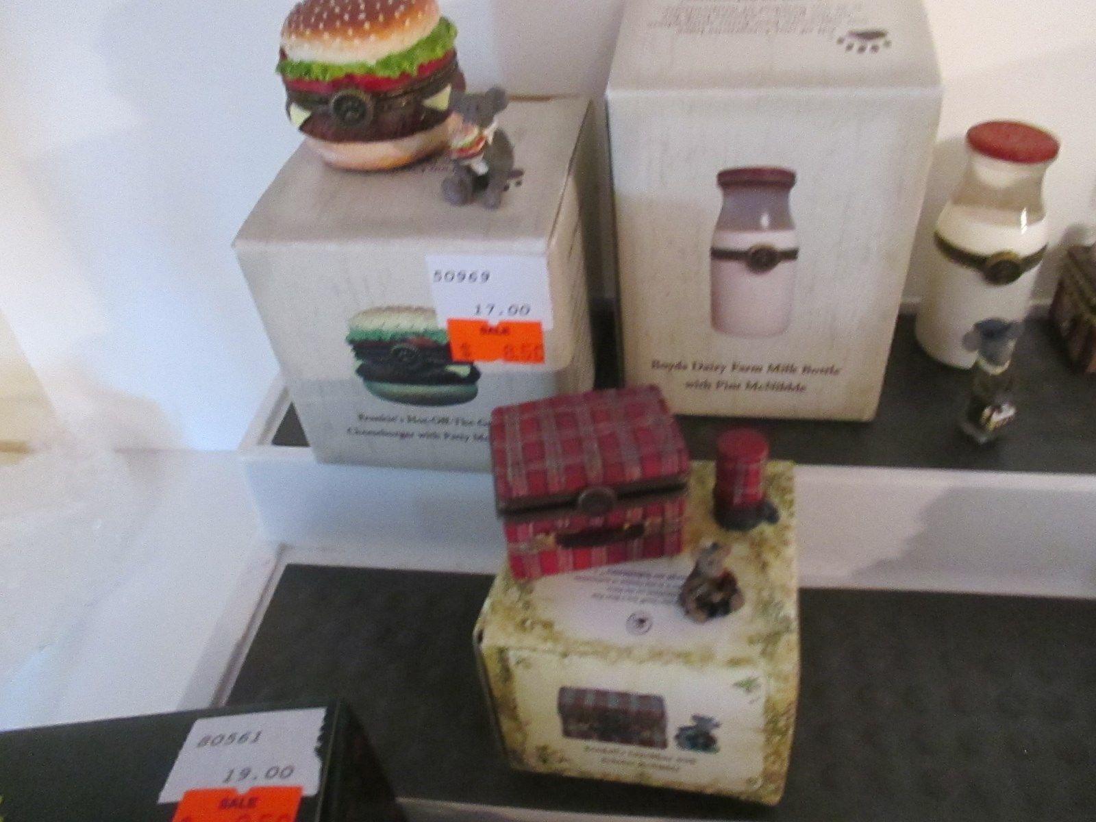 Lot Boyds Bears Treasure Boxes Beckys Cast Iron Stove Imas Tiny Tote