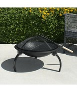22 Inch Outdoor Grill Steel Fire Pit Wood Burning Portable Camping BBQ w... - $44.50