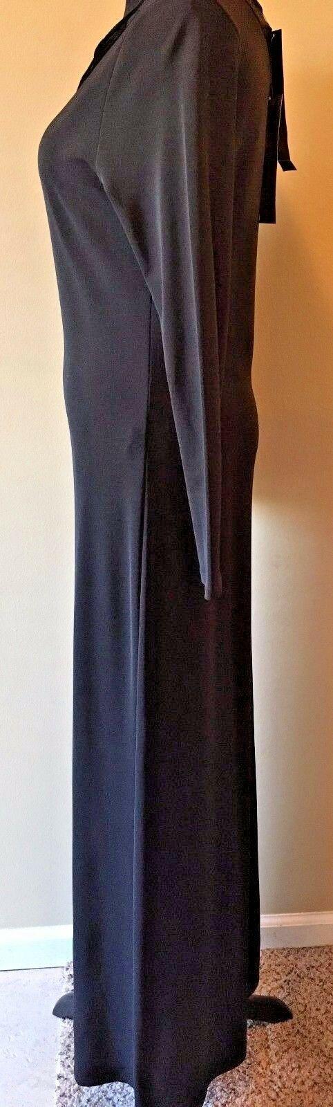 Anne Klein Black Velvet & Rayon Cutout Long Formal Dress size S M NWT $225 DS7 image 4