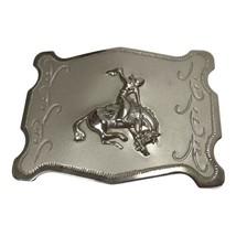 Vintage Belt Buckle Cowboy Bronco Nickel Plated Southwest Western rockab... - $19.79