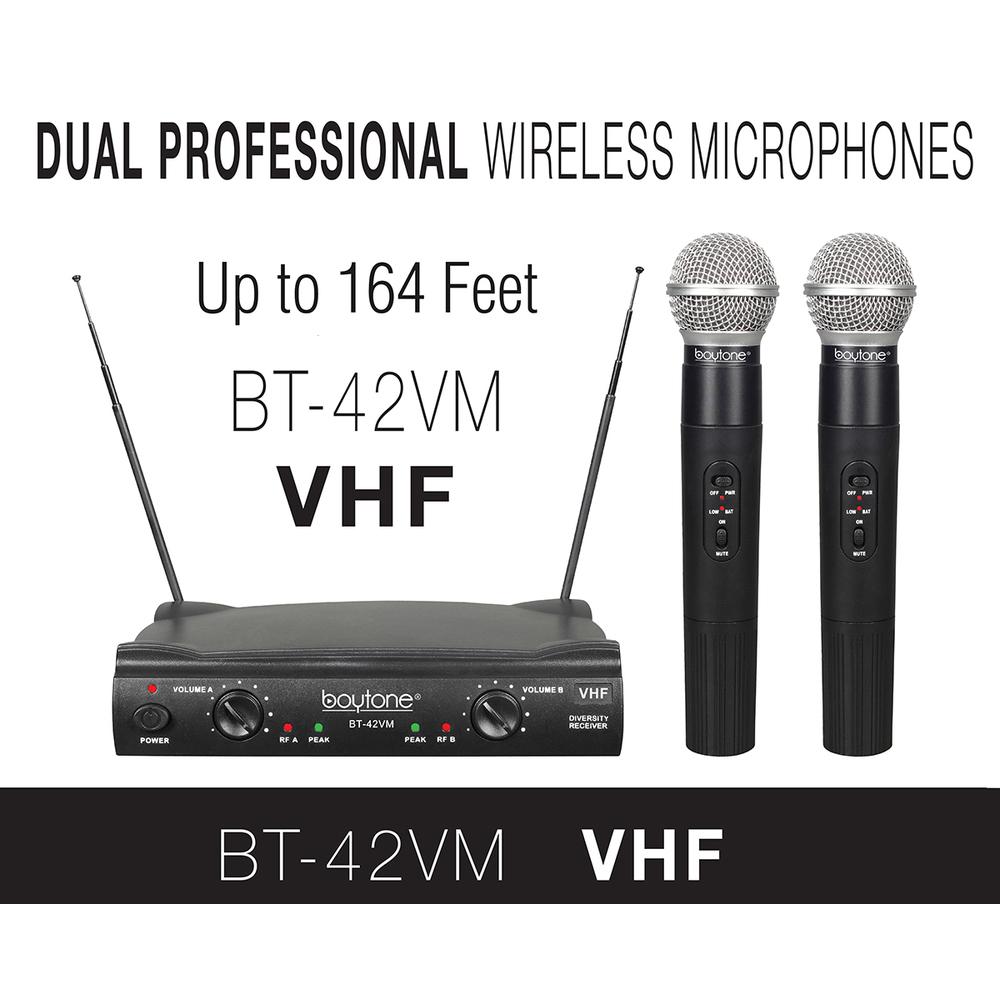 Boytone BT-42VM Dual Channel Wireless Microphone System - VHF Fixed Dual Frequen