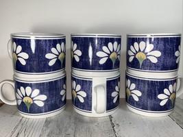 Oneida Kitchen Spring Daisy  Coffee Tea Cup Mug Denim Blue  Flower  Set ... - $27.72