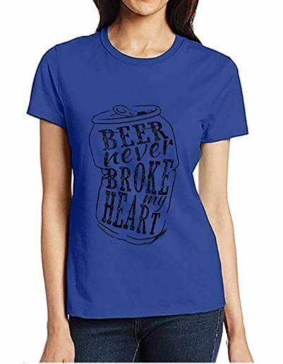 DUTUT Beer Never Broke My Heart Shirt Women  Summer Short Sleeve T shirt