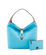 Dooney & Bourke Pebble Logo Lock Shoulder Bag & Pouch Sky Blue Purse - $289.00