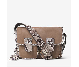Michael Kors Hewitt Large Crossbody Embossed-Leather and Suede Dark Dune... - $143.55
