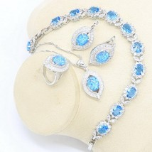 Blue Australia Opal Earrings Necklace Pendant Ring Silver Color Jewelry ... - $38.71