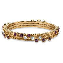 PalmBeach Jewelry Simulated Amethyst 3-Piece Gold Tone Bangle Bracelet Set - $12.49