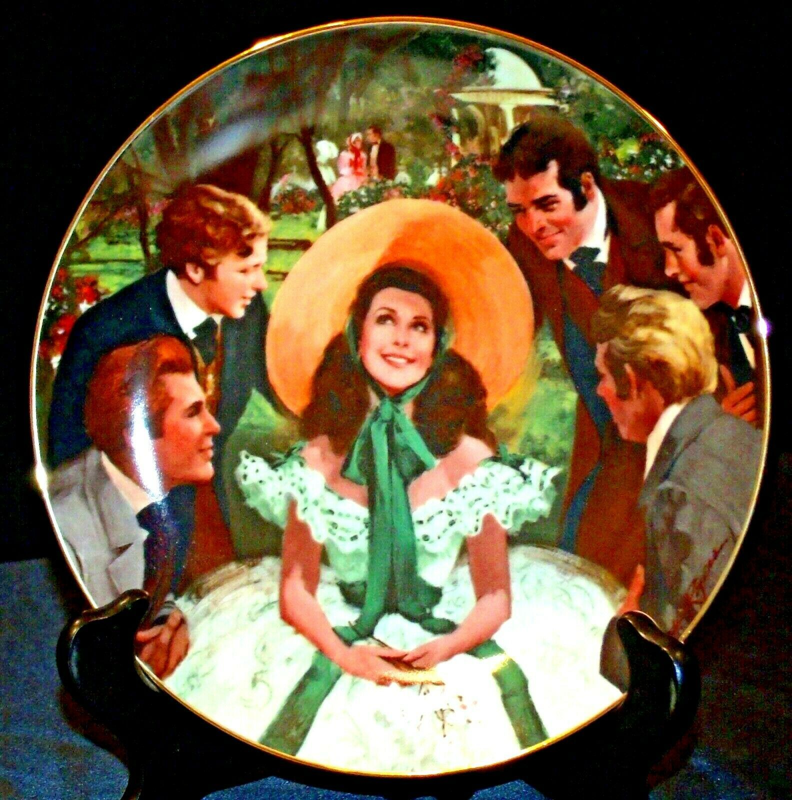"""""""Scarlett and Her Suitors"""" by Howard Rogers Plate with Box AA20-CP2231 Vintage"""