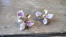 Vintage Gold Tone Orchid Flower Screwback Earrings 3cm - $23.76
