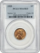 1925 1c PCGS MS65 RD - Lincoln Cent - $174.60