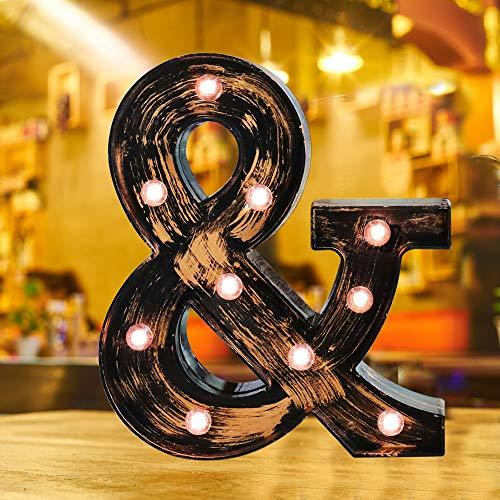 Industrial Style Light Up Letters: Golden Led Marquee Letter &