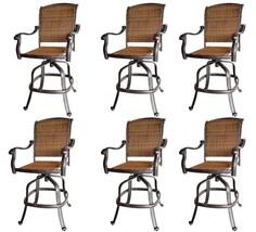 Patio wicker bar stools with arms set of 6 Santa Clara cast aluminum Dark Bronze image 1