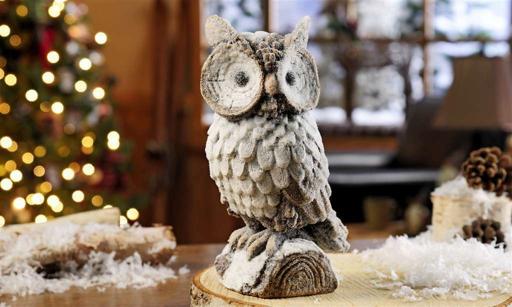 """8.7"""" Snowy Owl on a Branch Statue Polyresin"""