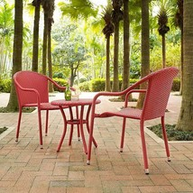 3 Piece Red Wicker Patio Chairs & Table Set Small Space Outdoor Furniture - €231,18 EUR