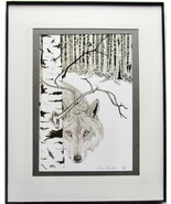 Framed Wildlife Art Print by artist, Pen and Ink, Wolf, Animal Wildlife ... - $39.00