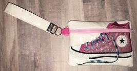 Converse Pink with White Background High Top Sneaker zip bag with handstrap - $18.00
