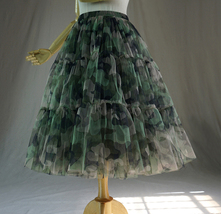 Army Pattern Layered Tulle Skirt Outfit Lady High Waist Tiered Maxi Tulle Skirt  image 9