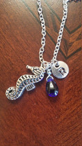 Birthstone September Sapphire seahorse necklace... - $26.00 - $28.00