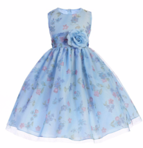Precious Blue Chiffon Flower Girl Party Pageant Dress Crayon Kids USA - $46.99