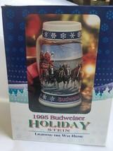 "7"" EMBOSSED 1995 BUDWEISER HOLIDAY BEER STEIN&ORIGINAL BOX~LIGHTING THE ... - $19.99"