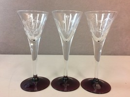 3 Beautiful Contemporary Etched Cordial Pedestal Glasses with Maroon Base - $24.74