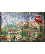 Silk Screen Painting Realistic Asian Oriental Boating Scene 32 x 21 - $23.00