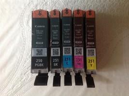 Genuine CANON PGI-250PGBK, CLI-251 BK, C, M, Y Ink Black, Cyan, Magenta,... - $55.99