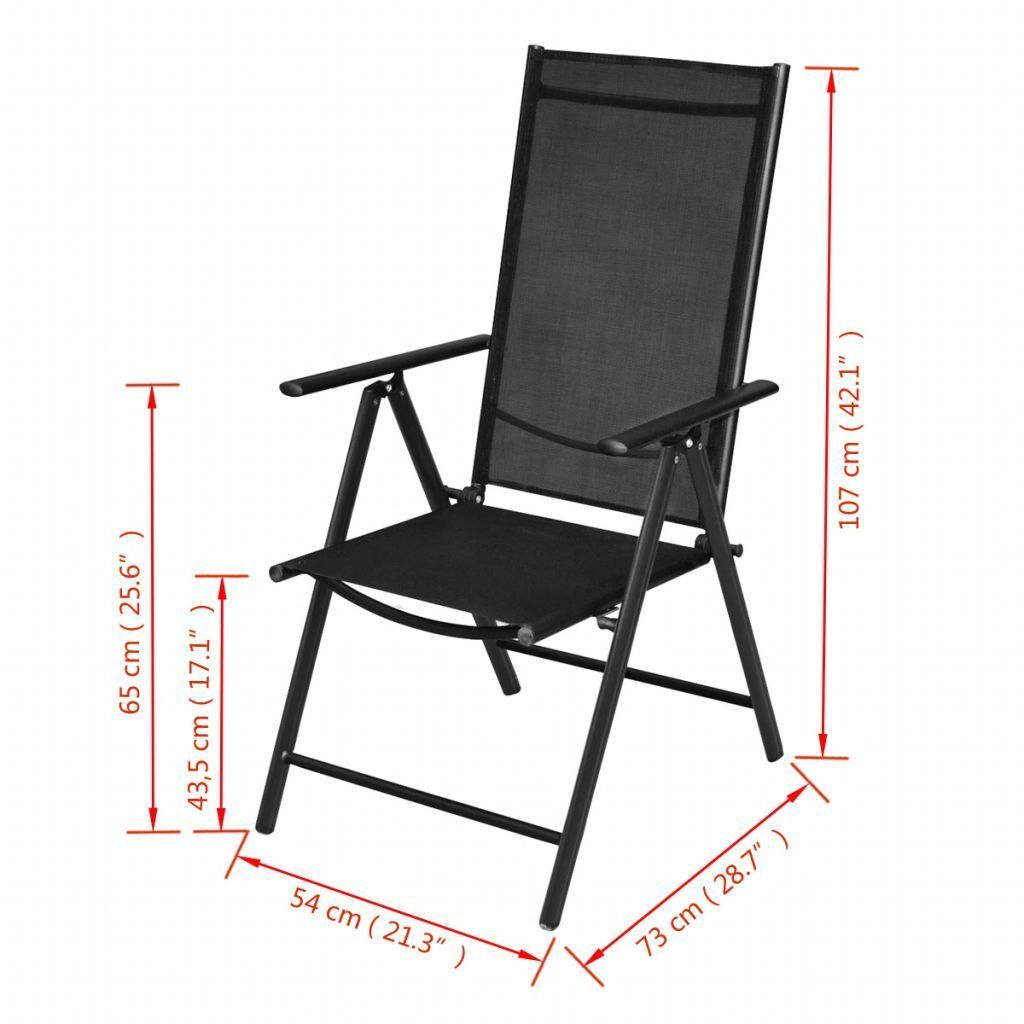 vidaXL 2x Garden Chairs Aluminum Folding Textilene Black Outdoor Recliner Seat