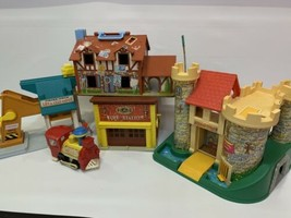Vintage Fisher Price Lot Of 5 Little People Play Family Castle House Firestation - $148.49