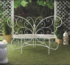 White Metal Butterfly Garden, Patio, Entryway, Porch Bench - $160.00