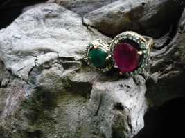 HAUNTED KING DJINN RUBY EMARALD AND WHITE TOPAZ SIZE 11 - $400.00
