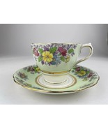 VINTAGE COLCLOUGH CUP & SAUCER ~ MINT GREEN TINY PINK YELLOW FLOWERS ~ VGC - $14.84